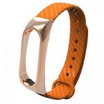 Ремешок силиконовый с металлическим основанием для Mi Band 2 (Оранжевый)