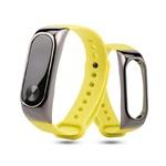 Ремешок силиконовый с металлическим основанием для Xiaomi Mi Band 2 Желтый