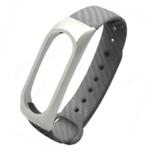 Ремешок силиконовый с металлическим основанием для Mi Band 2 (Серый)